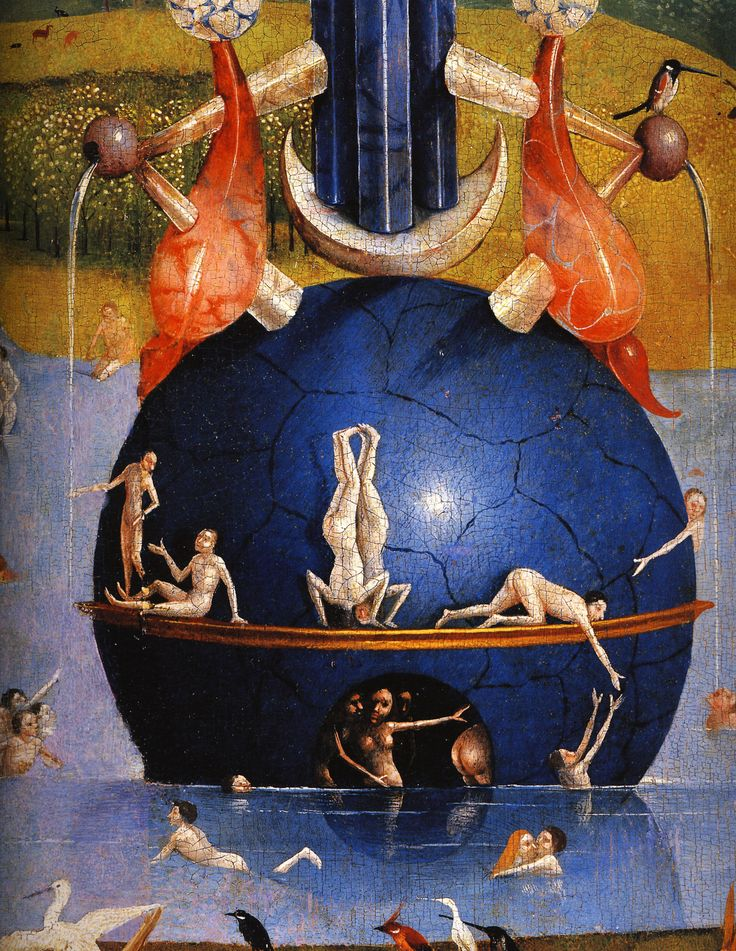 1480-1490 Hieronymus Bosch  The Garden of Earthly Delights, Paradise imaginary Fountain of Life detail