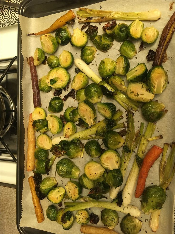 Fall veggies after roasting Mmmm:   brussel sprouts, carrots, green onion, S&P, California olive oil.