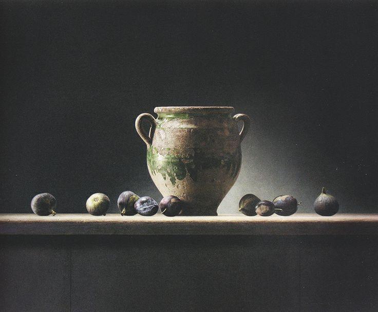 Groene Pot met Vijgen en Pruimen 2013 Olieverf / paneel 70x50 cm