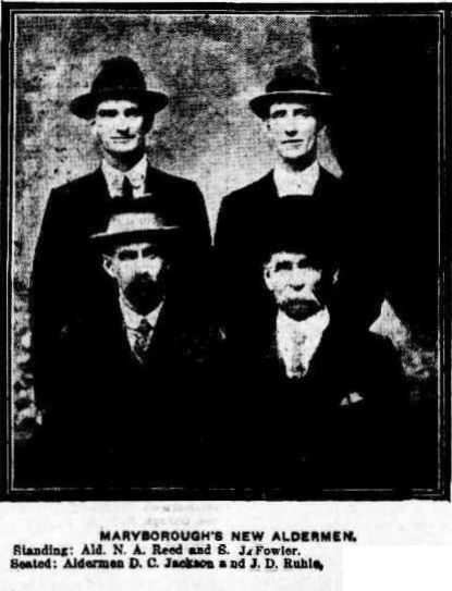 6 March 1915 - Maryborough's New Aldermen. Standing Ald. N A Reed and S J Fowler. Seated Ald. D C Jackson and Ald. J D Ruhle