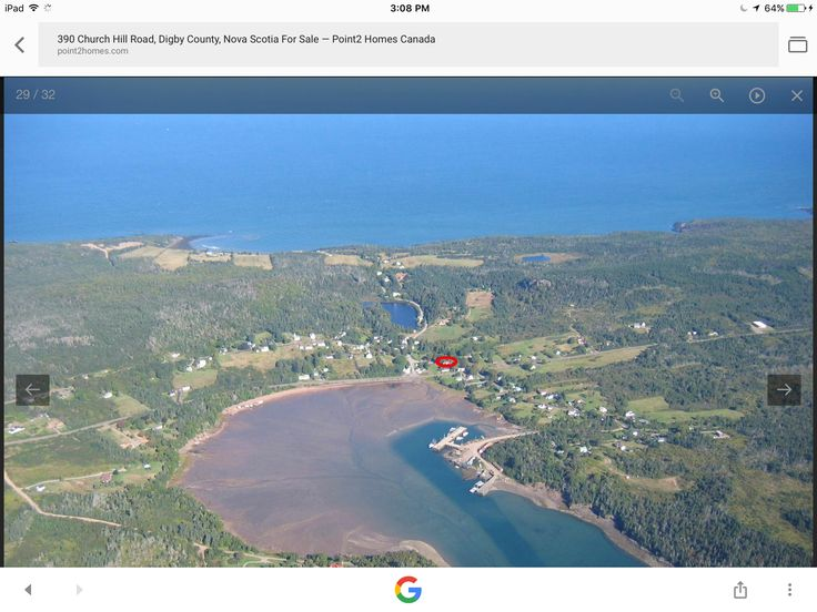 A view of a small fishing village called Sandy Cove, Digby Neck, NS. On the top is the Bay of Fundy and the bottom is St Mary's Bay.