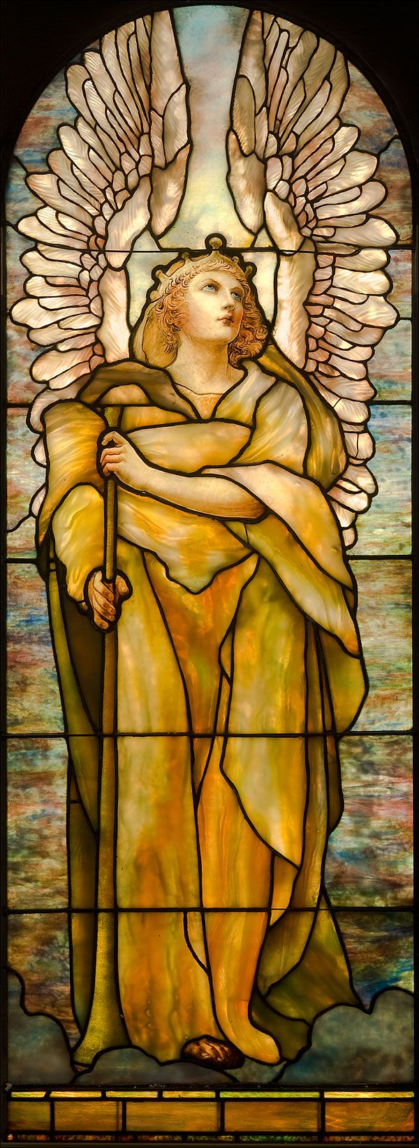 'Angel of the Resurrection' by Louis C. Tiffany (1848-1933) - Collection of the Montreal Museum of Fine Arts.Tiffany 1848 1933, Montreal Museums, Tiffany Glasses, Fine Art, Glasses Windows, Tiffany 18481933, Angels Wings, Guardian Angels, Stained Glasses