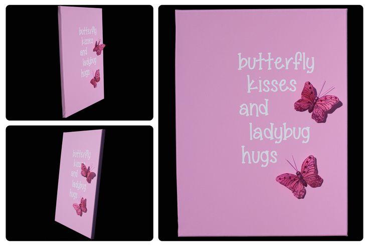 3D Nursery Art - Butterflies - butterfly kisses and ladybug hugs