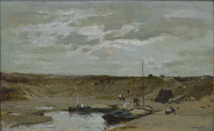 Ype Wenning (1879-1959) Titel: Zandafgraving met boot - Artiquair