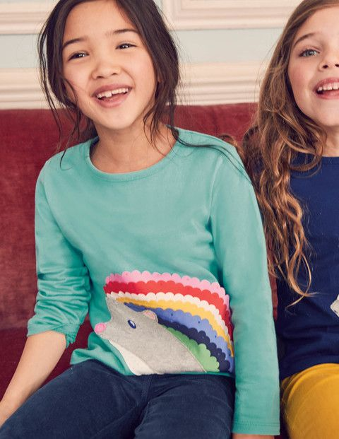 The big friendly animals on this soft cotton T-shirt are here to make your day brighter. They're made from pretty appliqué in bold look-at-me colours with touchable felt and flutter detailing. Wear with your favourite flippy skirt for maximum fun at playtime.