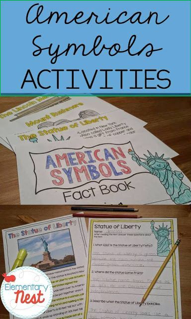 American Symbols teaching activities- anchor charts, reading passages, mini books, and hands on interactive flip books for students to work on while they learn about different American Symbols- for first and second grade students