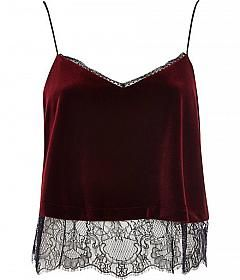 Check out Red velvet lace cami top on @grabblestyle