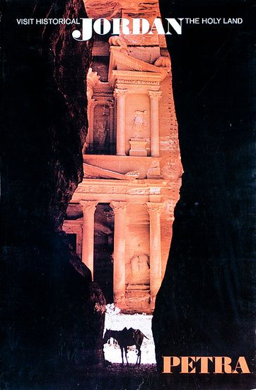DP Vintage Posters - Visit Historical Jordan The Holy Land Original Petra Travel Poster