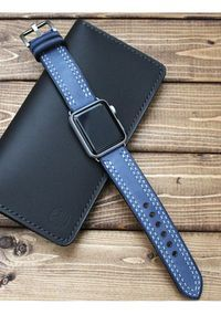 Double Stitching Leather Apple Watch band in Blueberry Blue, iWatch 38mm, iWatch 42mm, Apple watch strap, iwatch strap, double stitched band.