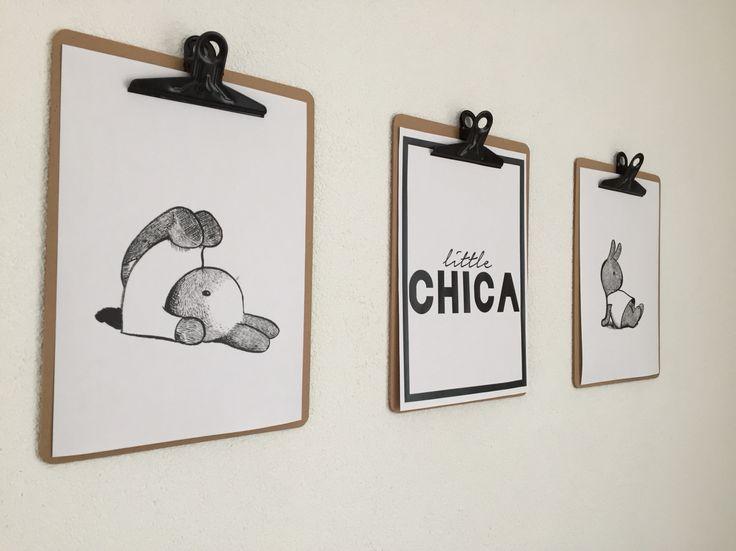 Babykamer inspiratie / konijn / zwart wit / klembord aan de muur / diy / little chica