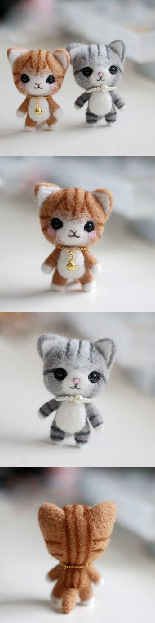 Handmade Needle felted felting project animal cute cat kitten felted wool doll