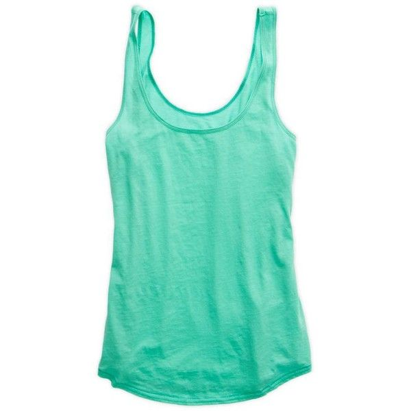 Aerie Basic Loose Fit Tank (21 AUD) ❤ liked on Polyvore featuring tops, tank tops, shirts, tops - tanks and camis, green, green tank top, cami tank tops, scoop neck tank top, loose tank and green tank