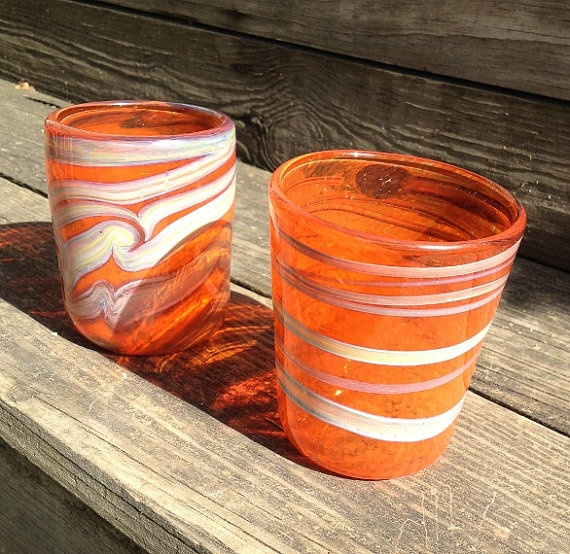 Set of Two Bright Orange Drinking Glasses by HorkoverGlass