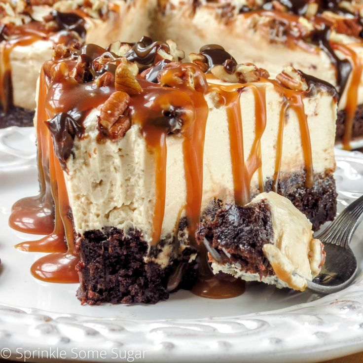 No-Bake Caramel Turtle Cheesecake - everything from scratch except the brownie bottom, fudge + cool whip.