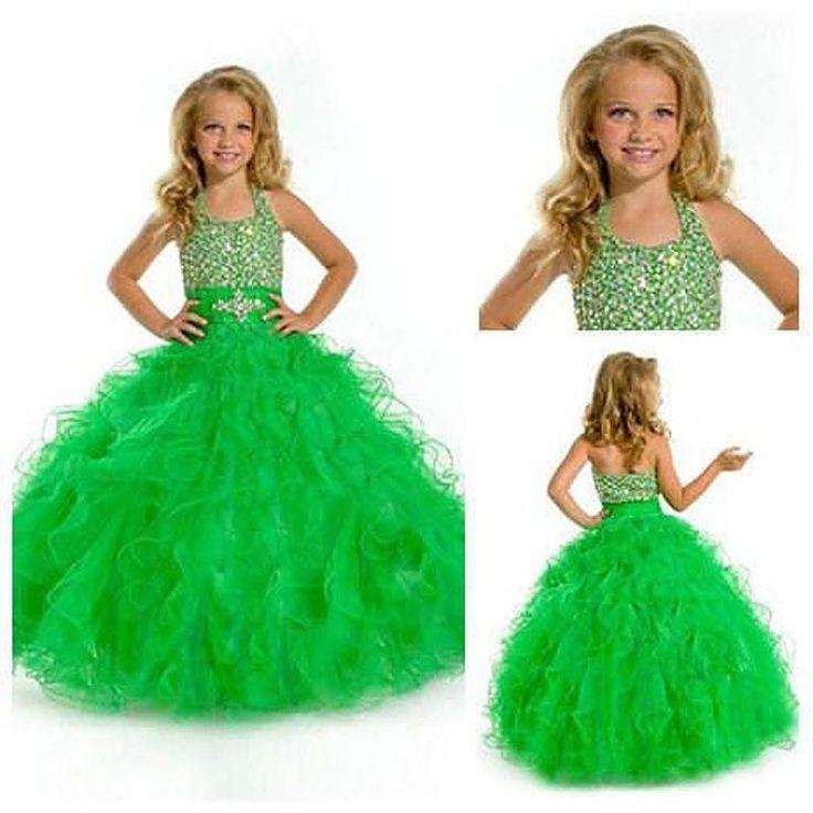 Во-первых Cummunion платье свежий зеленый бальное платье зеленый холтер-линии маленькие девочки вечерние платья театрализованное платья длинные платья