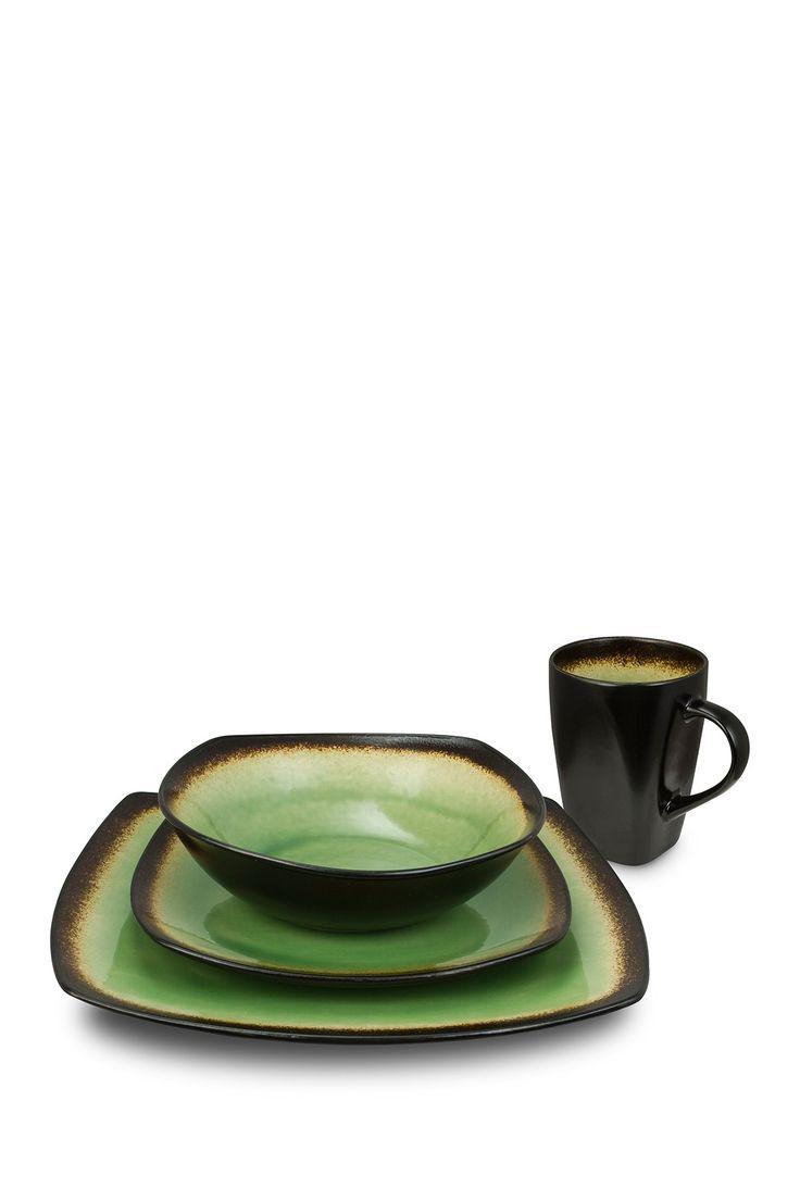 Kalorik Haus 16-Piece Brown and Green Dinnerware Set