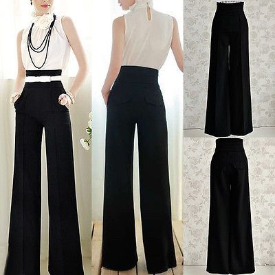 Fashion Womens OL Loose High Waist Flare Wide Leg Long Pants Palazzo Trousers in Clothing, Shoes & Accessories, Women's Clothing, Pants | eBay