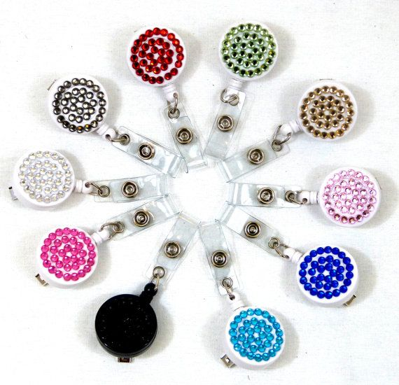 BLING DIAMANTE BADGE reel retractable id yoyo key holder