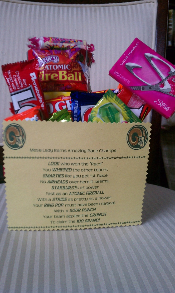 Bucket of Candy for the Amazing Race Champs.