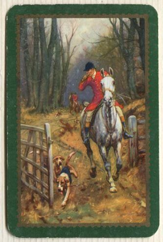 Swap Cards_ hunting scene with green border