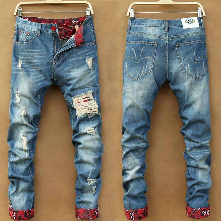 Hot Sale 2017 New Arrival Fashion Casual Slim holes Straight Designer Denim  Jeans Men,Retail