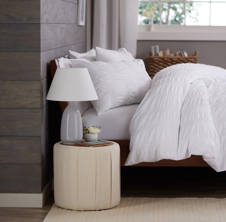 modern master bedroom with threshold seersucker duvet cover set | Amazon.com - Pinzon Seersucker Duvet Cover Set, Full/Queen ...