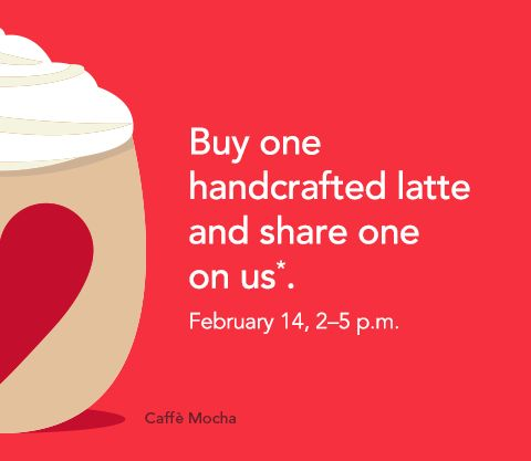 Starbucks | Love Your LatteStarbucks Obsession, Free Latte, Deals Coupon Freebies, Valentine Coupon, Starbucks Coffee, Free Stuff, Starbucks Valentine, Deals Coupons Freebies, Drinks Offering