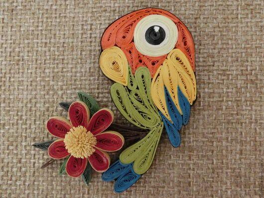 Магниты ручной работы. Ярмарка Мастеров - ручная работа. Купить Попугай магнит (квиллинг). Handmade. Попугай, магнит