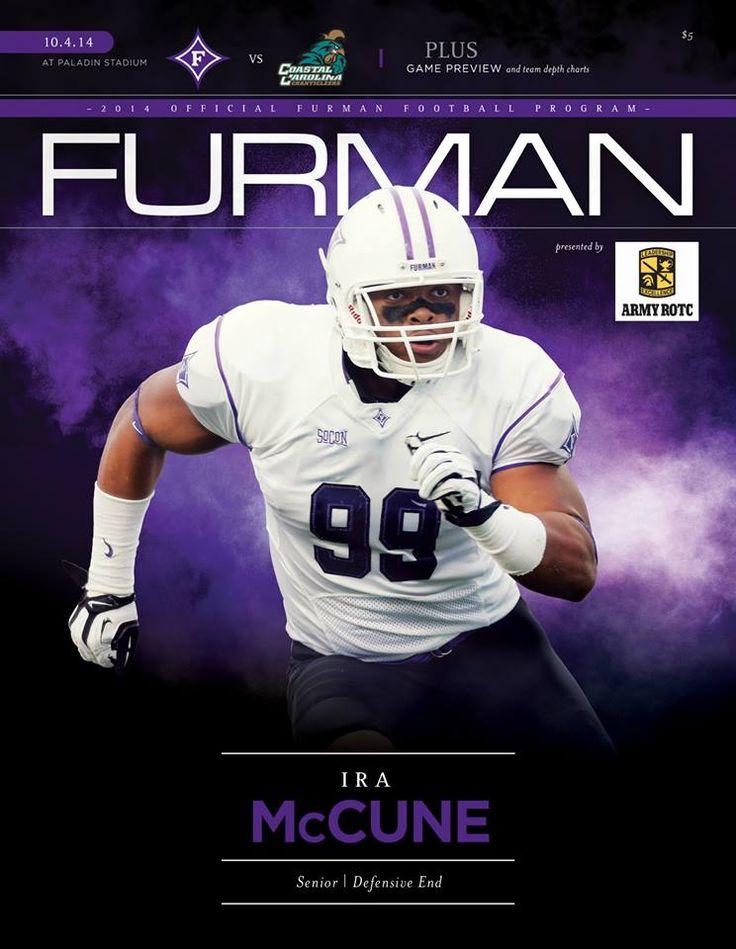 2014 Official Furman Football Program vs. Coastal Carolina at Paladin Stadium on October 4, 2014. Cover features senior defensive end Ira McCune. #Paladins