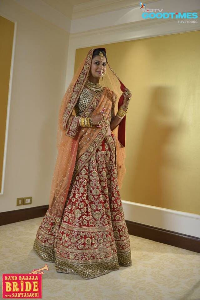 Sabyasachi bridal lehenga for the band Baja bride