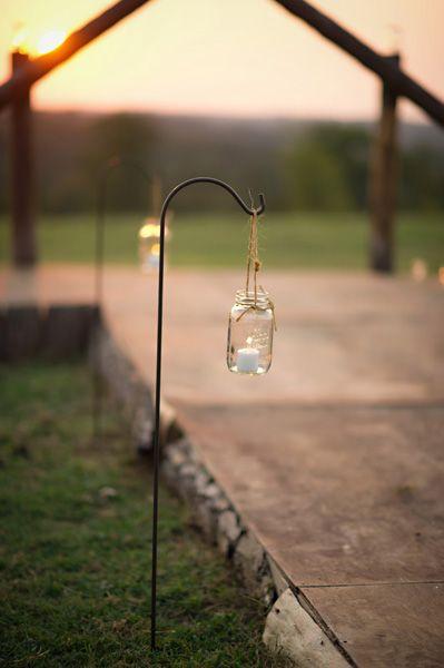 Single hanging mason jar light (Shannon Maritz, Intimate Weddings)