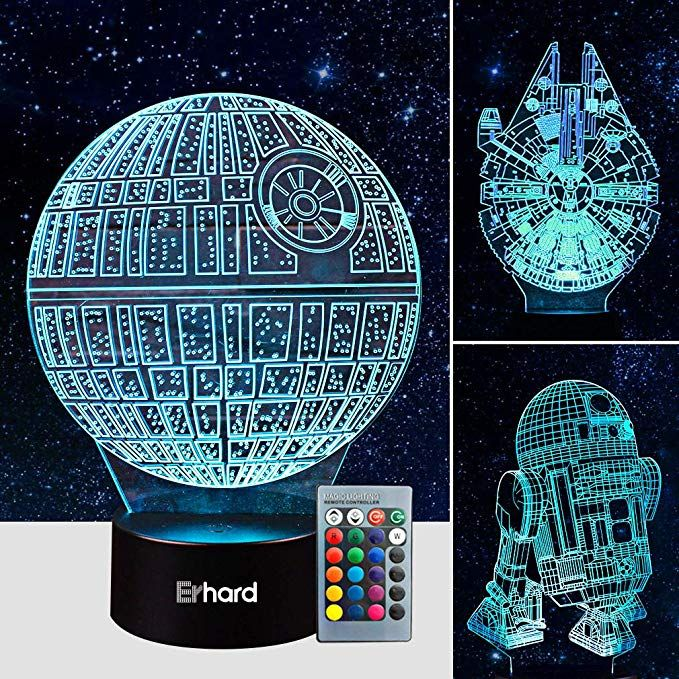 3d Led Illusion Lamp Star Wars Night Light Three Pattern And 7 Color Change Decor Lamp With Remo With Images Star Wars Night Light Star Wars Lamp Star Wars Nursery Decor