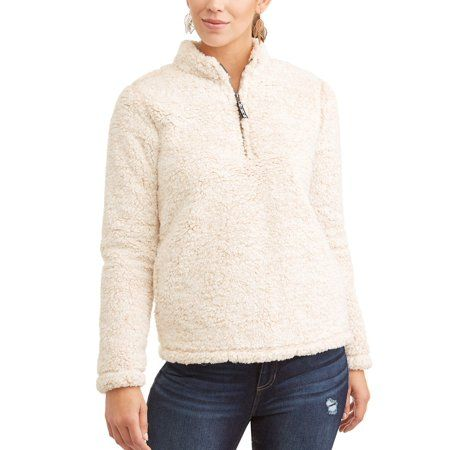 7507cdd47 Time & Tru Women's Snow Tipped Quarter Zip Jacket, Beige | Products ...