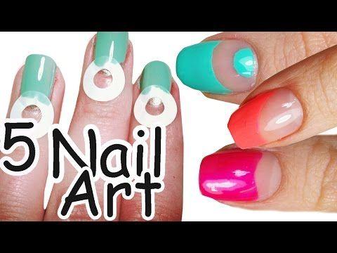 5 Nail Art Semplici Con i SALVABUCHI - Tutorial - YouTube