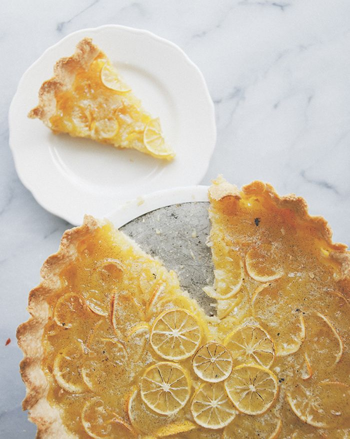 The flavor in this pie is wonderful. The lemon peel provides a lovely bitterness that adds bite, and the texture is firm and perfectly sliceable. Imagine lemon marmalade, as a pie. It's wonderful, simple, beautiful, and perfect. Enjoy with a refreshing Sauvignon Blanc.