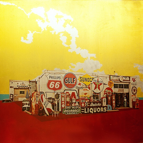 """Sign Gas Station 24"""" x 24"""" Mixed Media $850 these pieces are so incredible in person, they truly GLOW with just a bit of natural light. visit www.argylefineart.com for more information on this piece, and on the artist, Angela Carlsen :)"""