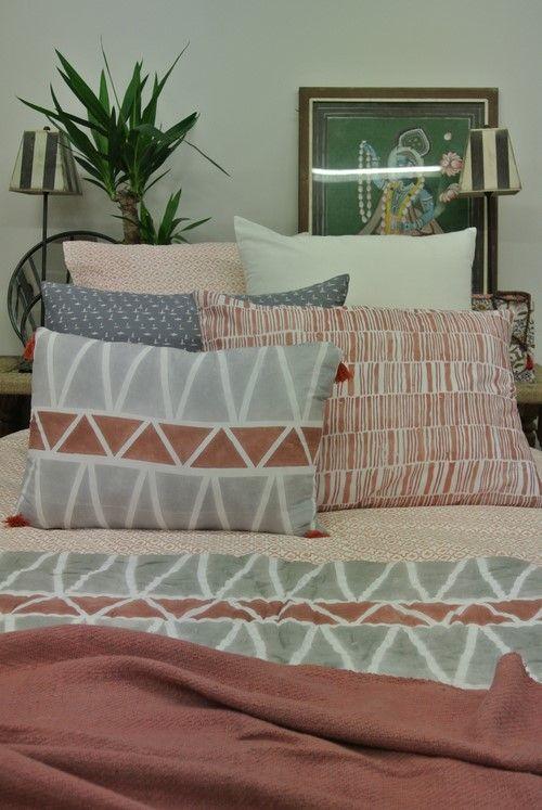 corail/gris parure de lit, coussin, plaid, courtepointe en coton...