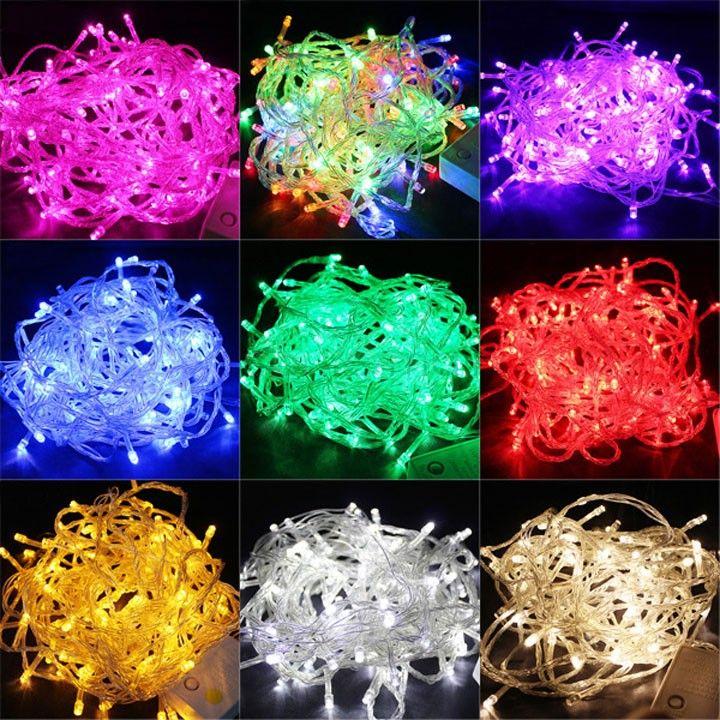 Купить товар10 М 100 СВЕТОДИОДНЫЕ Строки Рождественские Огни Открытый Украшения Свадьбы Декорации для Вечеринок Гирлянда Освещение guirlande lumineuse exterieur в категории Светодиодные кабелина AliExpress.  Hot Selling 5Colors 10M 100 LED Lights Party Lights Led Christmas Lights Decoration Party Twinkle String Lights 220V EU