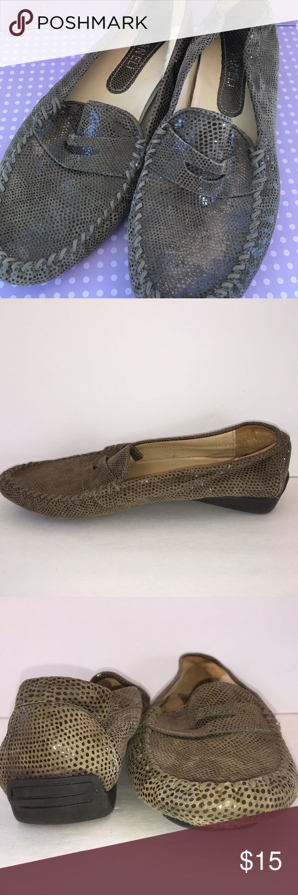 Van Eli Italian Loafers 7.5 Previously worn but in great condition.  Leather is really cool.  They are kind of olive green and the little dots are shiny.  Soles are rubber.  Insoles show wear.  Nice shoes! Van Eli Shoes Flats & Loafers