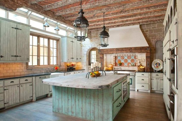 country rustic kitchen designs | Captivating Rustic Country Kitchen Island Designs With Vintage Hanging ...