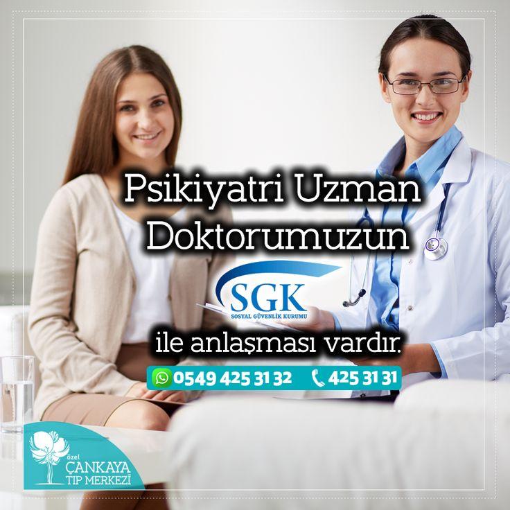 """Psikiyatri Uzman Doktorumuzun """" SGK """" ile anlaşması vardır.  Tam zamanlı olarak kurumumuzda hizmet vermektedir. ➤ Psikiyatri Uzmanı Uzm. Dr. Sevgin EKŞİOĞLU KARACAOĞLU Daha detaylı bilgi ve randevu için; Online Randevu: www.cankayatip.com/online-randevu Santral: 0 232 425 31 31 & WhatsApp: 0549 425 31 32"""