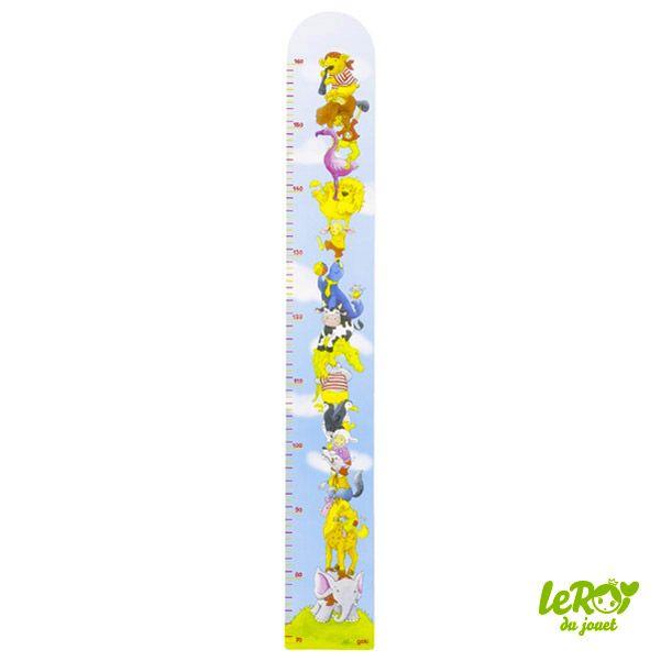 Toise Pyramide des animaux en bois pour décorer une chambre d'enfant Leroy du jouet