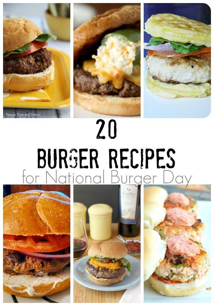 20 Burger Recipes for National Burger Day | FamilyFoodandTravel.com | Recipes for the Grill | Hamburger Recipes | Sandwich Recipes