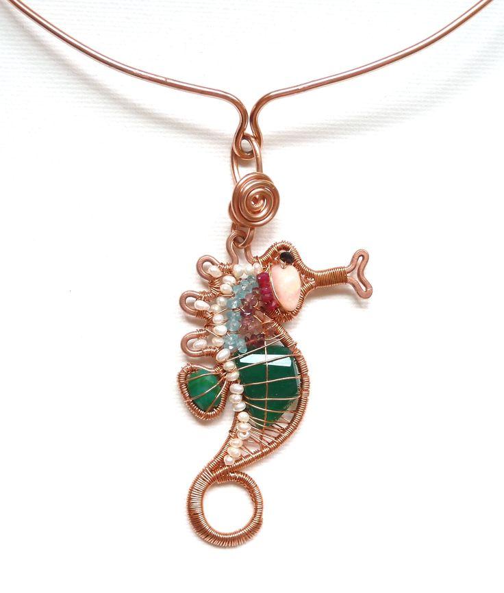 Seahorse wire wrapped pendant Florina Ravariu jewelry