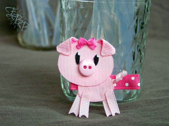 Pig Ribbon Sculpture Hair Clip Piggy Farm by EllaBellaBowsWI