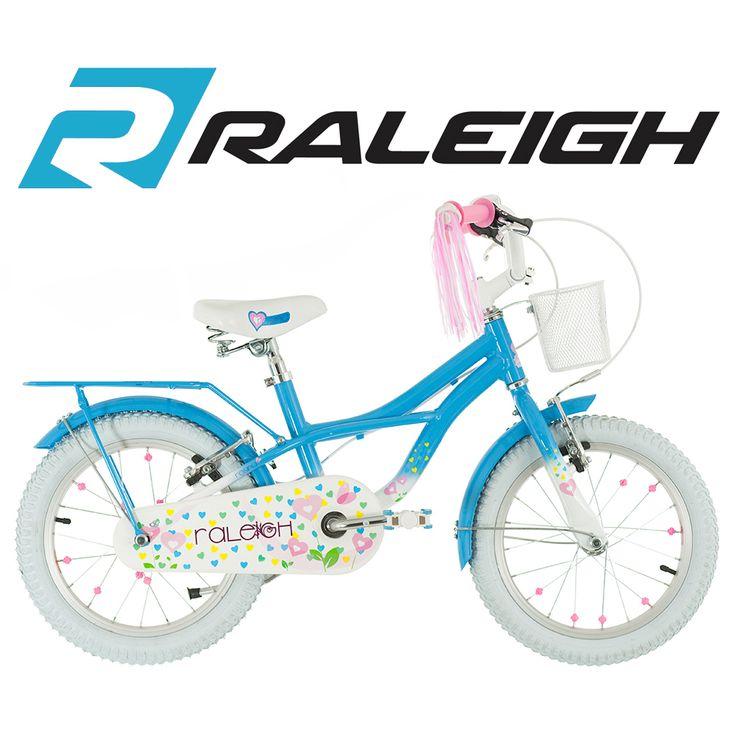 16 inch Girls Bike with Stabilisers Blue White