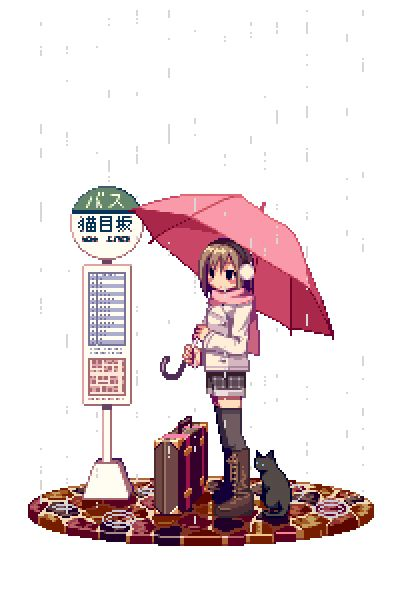 Rain Day // Anime Manga Girl Cat Umbrella