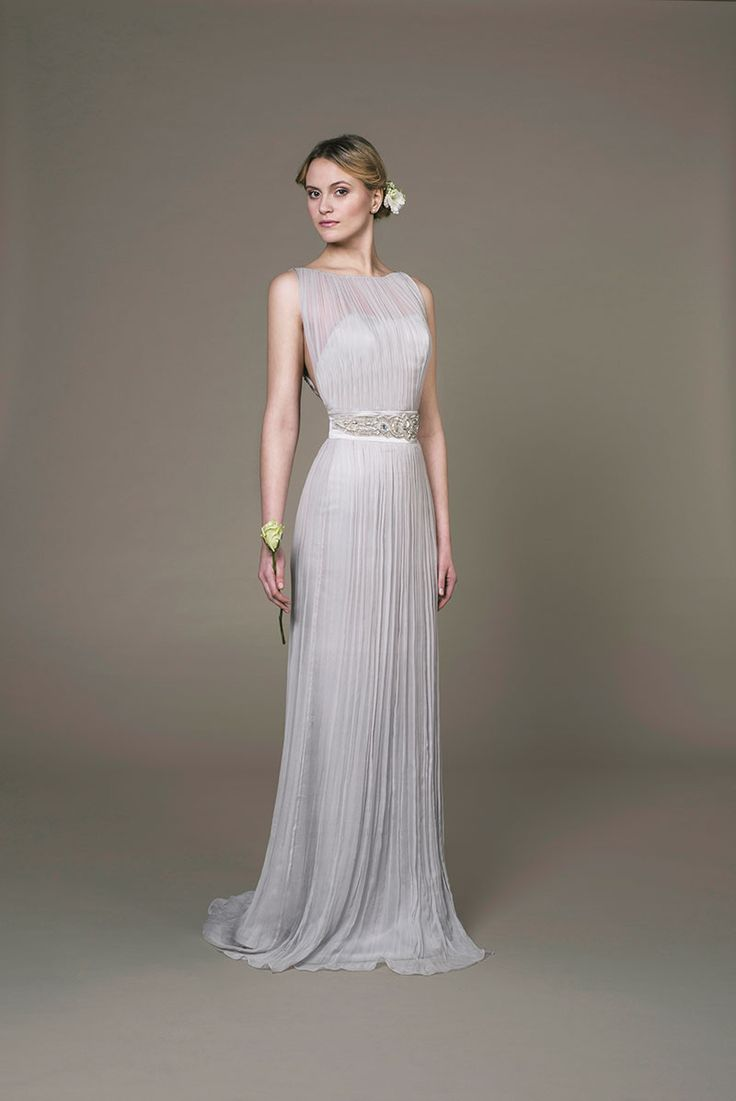 Moon evening gown- Grey organic silk evening gown with a organic chiffon overlay,  hand embroidered belt, a high boat neckline and low back.