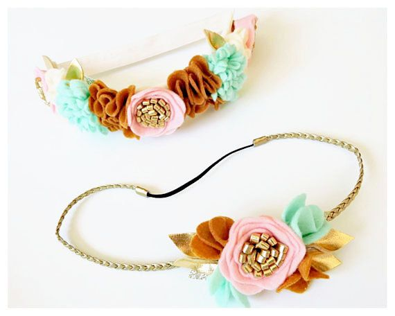 Mommy and Me Floral Crown Set  Baby Flower por SweetMimiStudio
