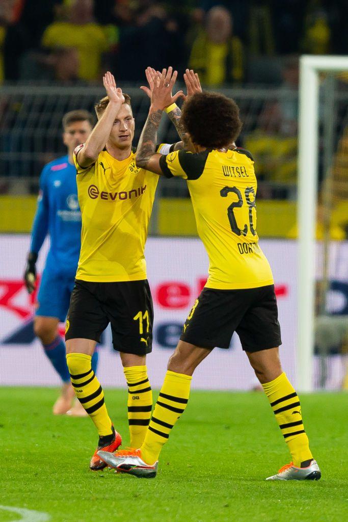 Dortmund Germany September 26 Marco Reus Of Borussia Dortmund Celebrates After Scoring His Team S Second Goal With Ax Borussia Dortmund Dortmund Marco Reus